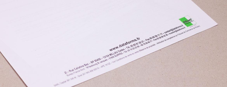 Pied de page d'un papier en tête   Dataforms