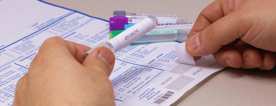 Étiquette intégrée secteur santé pour prélèvements -laboratoire | Dataform
